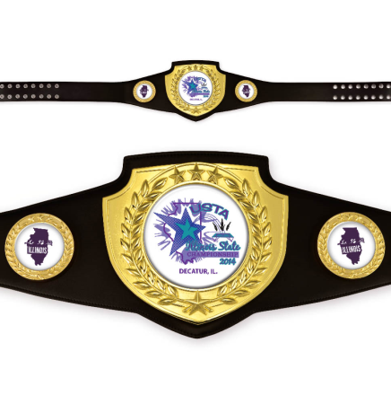CHAMPIONSHIP AWARD BELT BRIGHT GOLD w BLACK LEATHER