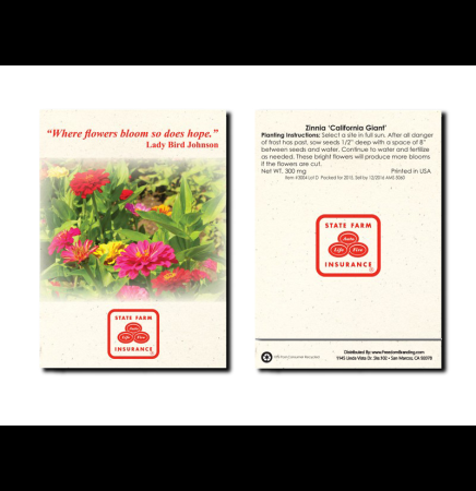 Zinnia California Giant - Flower Seed Packet