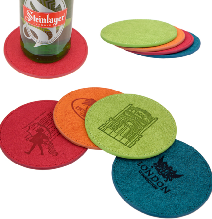iPosh PU Leather Round Coaster (Lime Green)