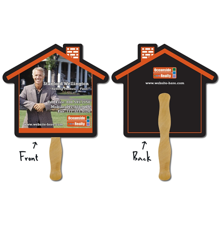 "House Shaped Real Estate Hand Fan (9.625""x8.5"")"
