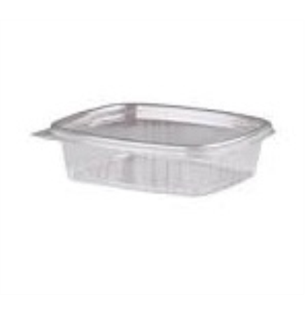 8 Oz. Plastic Food Container w/ Attached Hinge Lid
