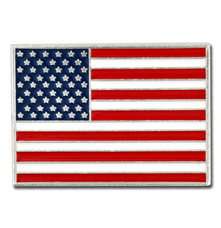 Rectangle American Flag Silver Pin - Made in the U.S.A.