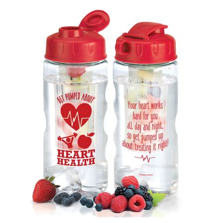 Get Pumped About Heart Health Fruit Infuser Water Bottle 22-oz.