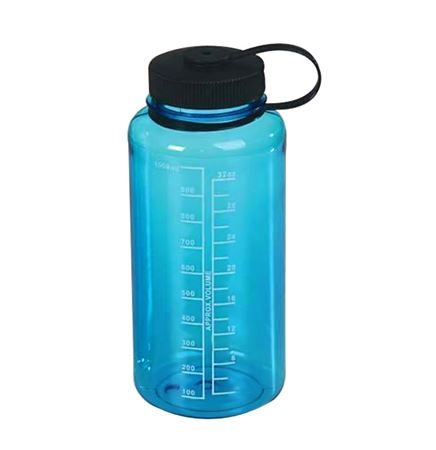 Translucent Blue Water Bottle w/ Measurement Markers